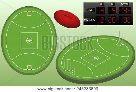 Australian Football Isometric Playground, Ball, And Scoreboard. Australian Football Playground Top V