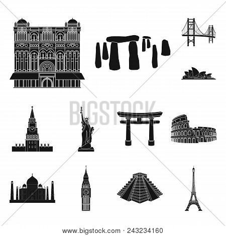 Sights Of Different Countries Black Icons In Set Collection For Design. Famous Building Vector Symbo