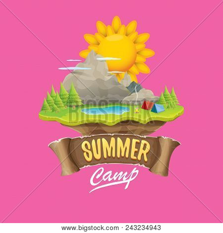 Summer Camp Kids Logo Concept Illustration With Green Valley, Mountains, Trees, Sun, Clouds, Camp Fi