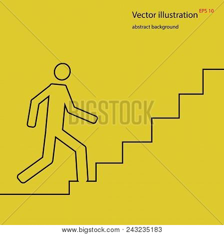 Man Going Up On Stairs, Abstract Background, Stock Vector Illustration, Eps 10 Abstract Illustration