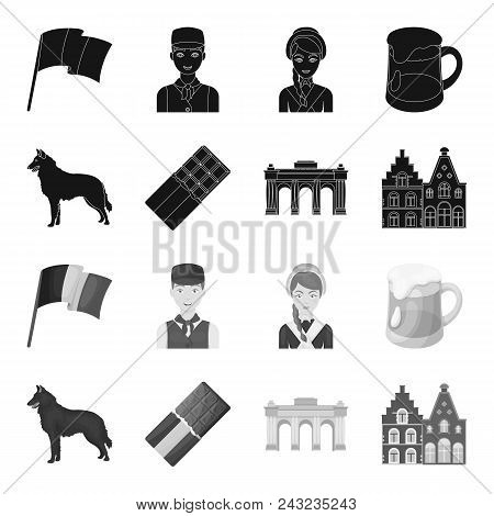 Chocolate, Cathedral And Other Symbols Of The Country.belgium Set Collection Icons In Black, Monochr