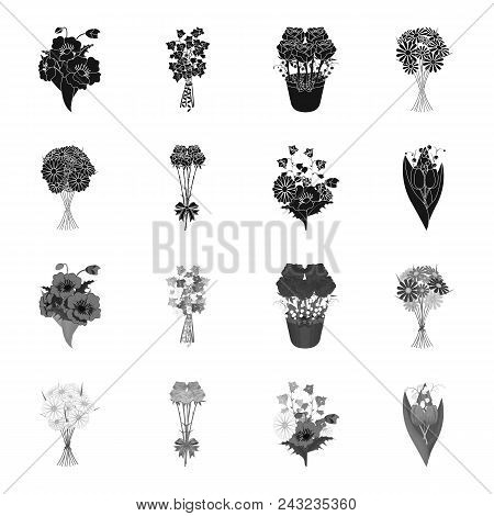 A Bouquet Of Fresh Flowers Black, Monochrome Icons In Set Collection For Design. Various Bouquets Ve
