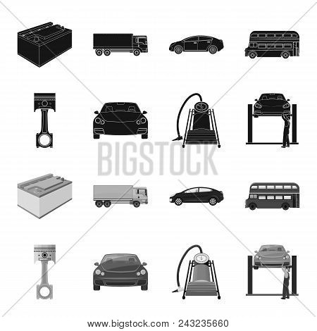 Car On Lift, Piston And Pump Black, Monochrome Icons In Set Collection For Design.car Maintenance St
