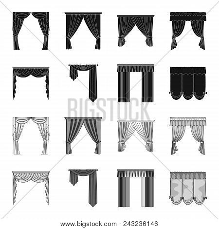 Different Types Of Window Curtains.curtains Set Collection Icons In Black, Monochrome Style Vector S