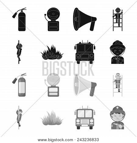Fireman, Flame, Fire Truck. Fire Departmentset Set Collection Icons In Black, Monochrome Style Vecto