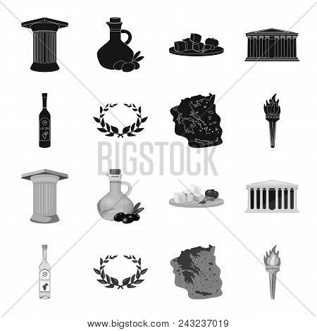 Greece, Country, Tradition, Landmark .greece Set Collection Icons In Black, Monochrome Style Vector