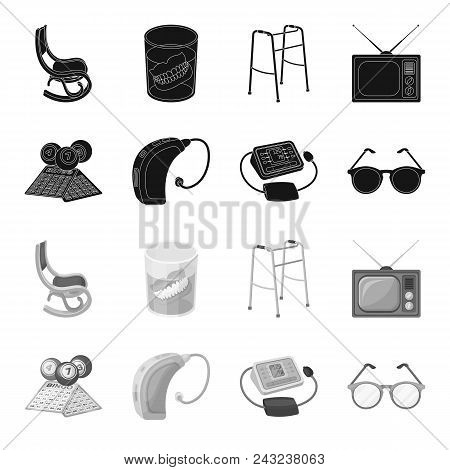 Lottery, Hearing Aid, Tonometer, Glasses.old Age Set Collection Icons In Black, Monochrome Style Vec
