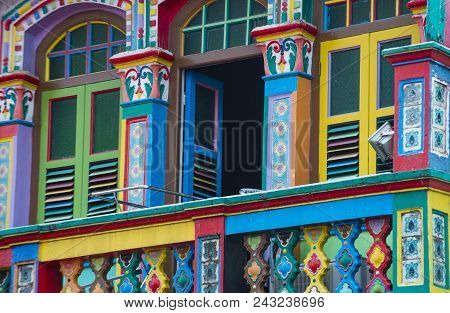Singapore - Feb 24 : Colorful Details Of A Building In Little India, Singapore On February 24 2018 L