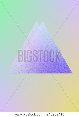 Cover Fluid With Triangle Shapes. Gradient Triangles On Holographic Background. Modern Hipster Templ