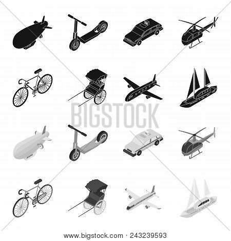 Bicycle, Rickshaw, Plane, Yacht.transport Set Collection Icons In Black, Monochrome Style Vector Sym