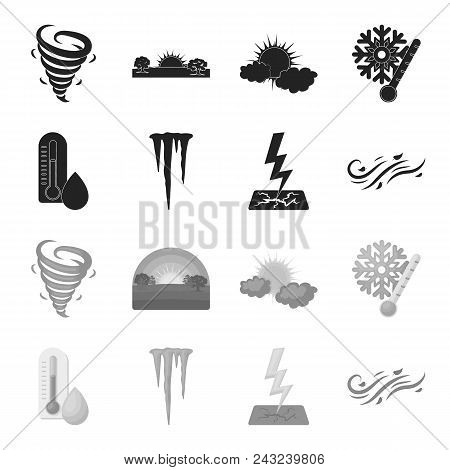 Humidity, Icicles, Thunderbolt, Windy Weather. Weather Set Collection Icons In Black, Monochrome Sty
