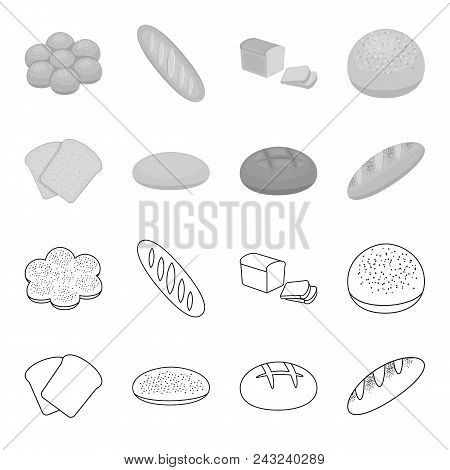 Toast, Pizza Stock, Ruffed Loaf, Round Rye.bread Set Collection Icons In Outline, Monochrome Style V