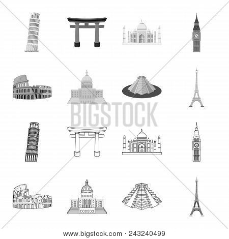 Sights Of Different Countries Outline, Monochrome Icons In Set Collection For Design. Famous Buildin