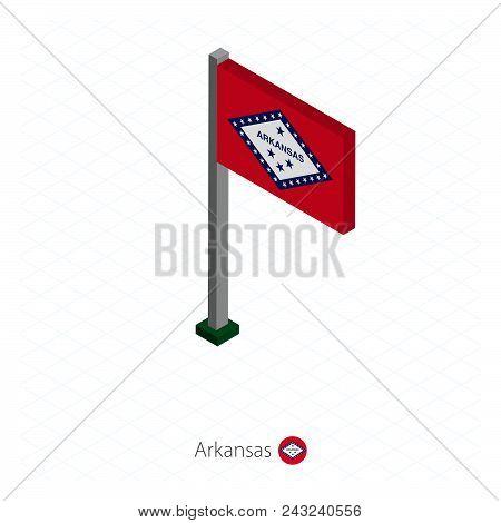 Arkansas Us State Flag On Flagpole In Isometric Dimension. Isometric Blue Background. Vector Illustr