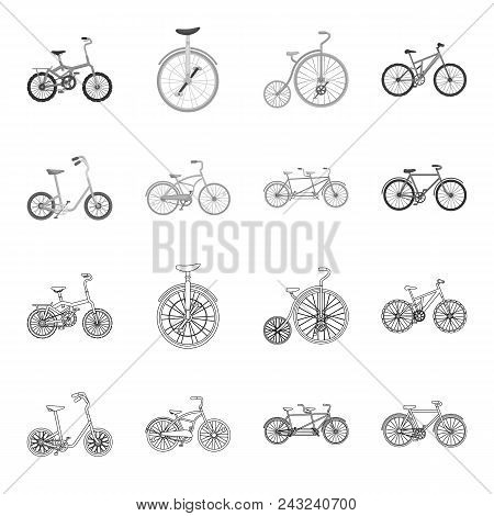 Children Bicycle, A Double Tandem And Other Types.different Bicycles Set Collection Icons In Outline