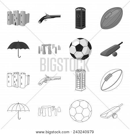 Umbrella, Stone, Ball, Cricket .england Country Set Collection Icons In Outline, Monochrome Style Ve