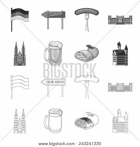 Country Germany Outline, Monochrome Icons In Set Collection For Design. Germany And Landmark Vector