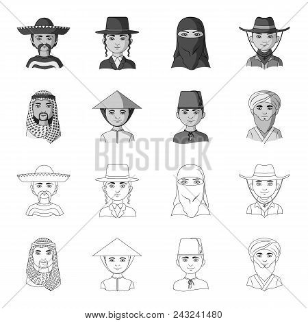 Arab, Turks, Vietnamese, Middle Asia Man. Human Race Set Collection Icons In Outline, Monochrome Sty