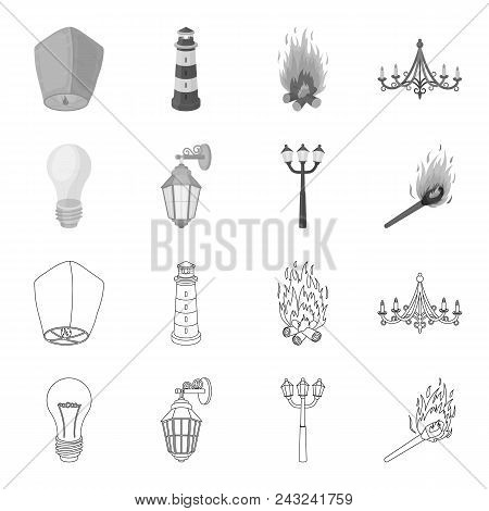 Led Light, Street Lamp, Match.light Source Set Collection Icons In Outline, Monochrome Style Vector