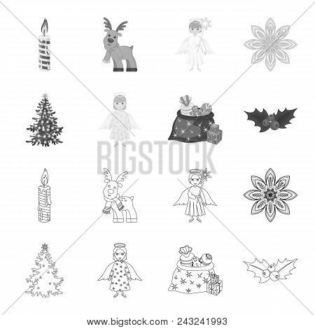 Christmas Tree, Angel, Gifts And Holly Outline, Monochrome Icons In Set Collection For Design. Chris
