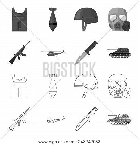 Assault Rifle M16, Helicopter, Tank, Combat Knife. Military And Army Set Collection Icons In Outline