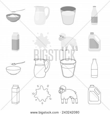 Billet Pack, Sheep.blue, Canister.moloko Set Collection Icons In Outline, Monochrome Style Vector Sy