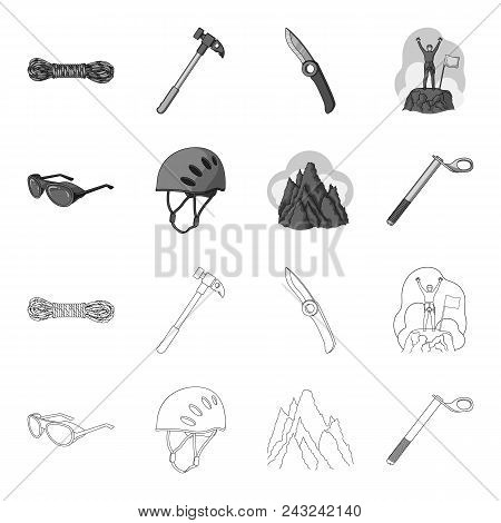 Helmet, Goggles, Wedge Safety, Peaks In The Clouds.mountaineering Set Collection Icons In Outline, M