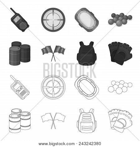 Protective Vest, Gloves And Other Equipment. Paintball Single Icon In Outline, Monochrome Style Vect