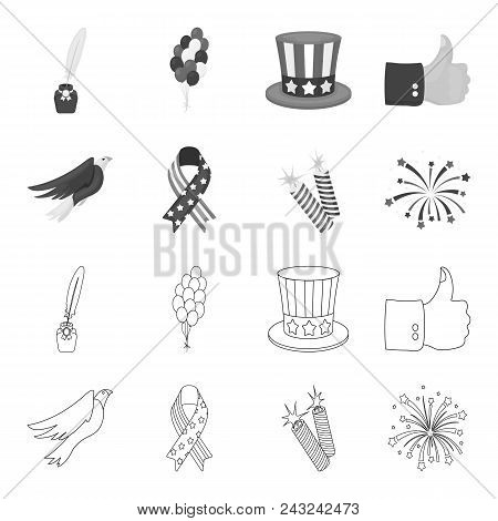 American Eagle, Ribbon, Salute. The Patriot Day Set Collection Icons In Outline, Monochrome Style Ve