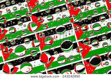 Flags  Of Western Sahara, Behind A Glass Covered With Rain Drops.pattern From Flags Of Western Sahar