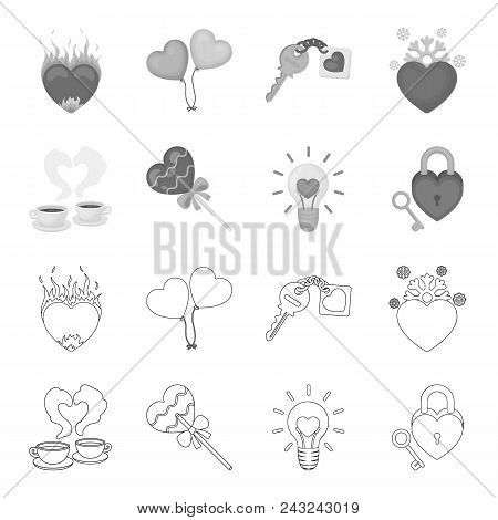 Cups With Coffee, Valentine, Lamp, Lock With Key. Romantic Set Collection Icons In Outline, Monochro