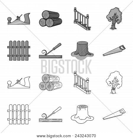 Fence, Chisel, Stump, Hacksaw For Wood. Lumber And Timber Set Collection Icons In Outline, Monochrom