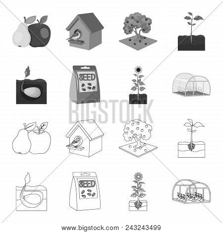 Company, Ecology, And Other  Icon In Outline, Monochrome Style. Husks, Fines, Garden Icons In Set Co