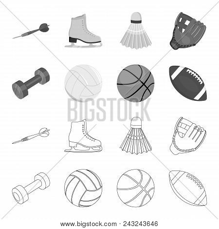 Blue Dumbbell, White Soccer Ball, Basketball, Rugby Ball. Sport Set Collection Icons In Outline, Mon