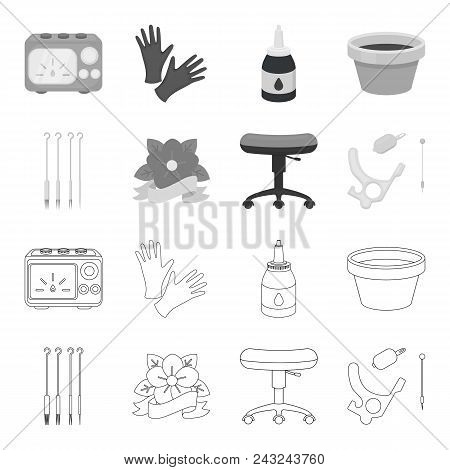 Chair On Rollers, Needles For Tattoo And Other Equipment. Tattoo Set Collection Icons In Outline, Mo