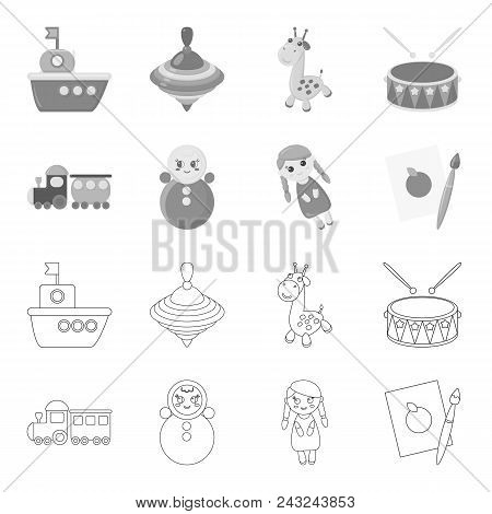 Train.kukla, Picture.toys Set Collection Icons In Outline, Monochrome Style Vector Symbol Stock Illu