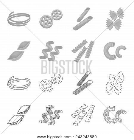 Different Types Of Pasta. Types Of Pasta Set Collection Icons In Outline, Monochrome Style Vector Sy