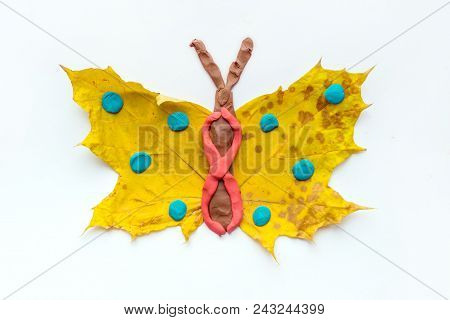 Fall Leaf Crafts For Kids. Craft Handmade Butterfly From Dry Yellow Leaves And Red, Brown And Blue P