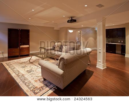 Modern home entertainment room in the basement poster