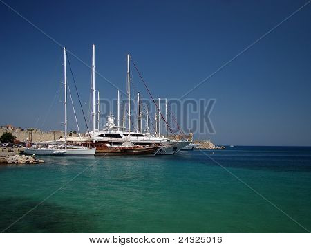 Scenic harbor of Rhodes island in Greece poster