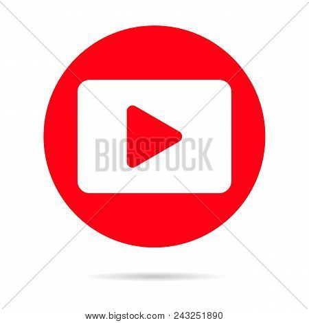 Red Player Icon Isolated On Background. Modern Flat Pictogram, Business, Marketing, Internet Concept