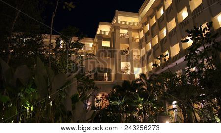Pulau Langkawi, Malaysia - Apr 4th 2015: The Danna Luxury Hotel At Night On Langkawi Island With Vie