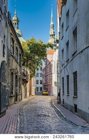 Narrow Medieval Street In Old Riga City That Is The Capital Of Latvia And Famous Baltic City. Riga I
