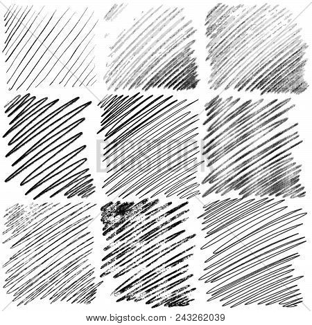Set Of Diagonal Hand Drawn Lines By Pen. Vector Background Pattern
