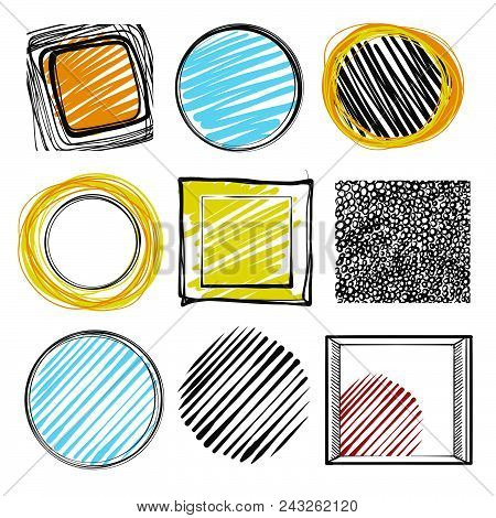 Set Of Hand-drawn Marker Lines And Frames. Vector Assets