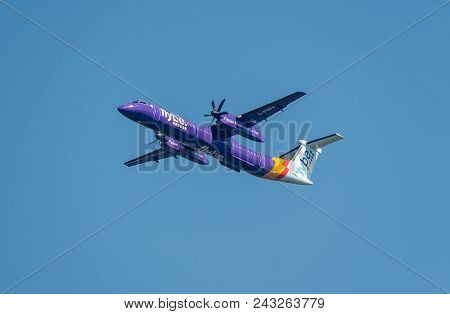 Manchester, United Kingdom - May 07, 2018: Flybe Airlines Bombardier Dash Departing Manchester Airpo