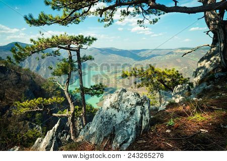 Lake And Mountain Landscape. Nature Landscape. Clouds And Lake Landscape. Outdoor Traveling Landscap