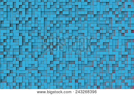 Abstract Blue Teal Geometric Cube Or Box Shape Background Or Pattern Design With Strong Red Secondar