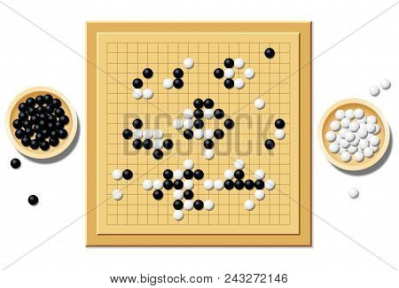 Gobang Or Go Game Board With A Typical Course Of Game, And Two Wooden Bowls Filled With Black And Wh
