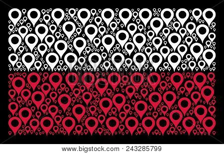 Polish State Flag Pattern Made With Map Marker Pictograms. Flat Vector Map Marker Symbols Are Combin